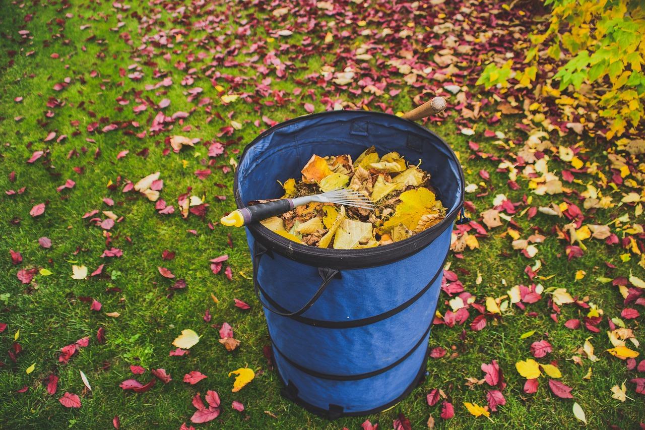 ramasser feuilles demande du travail d'entretien