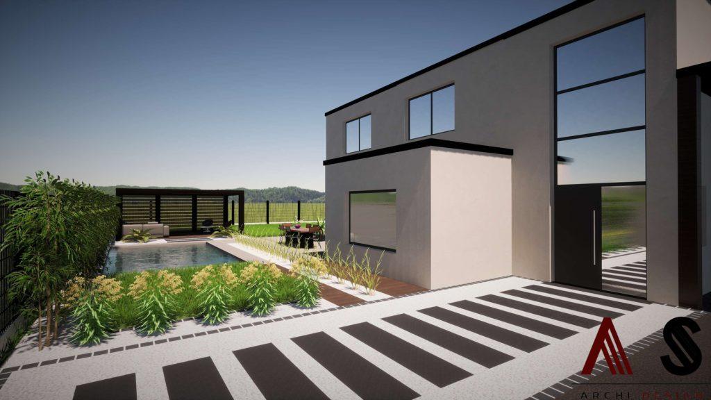aménagement de jardin avec des graminées pour cacher la piscine