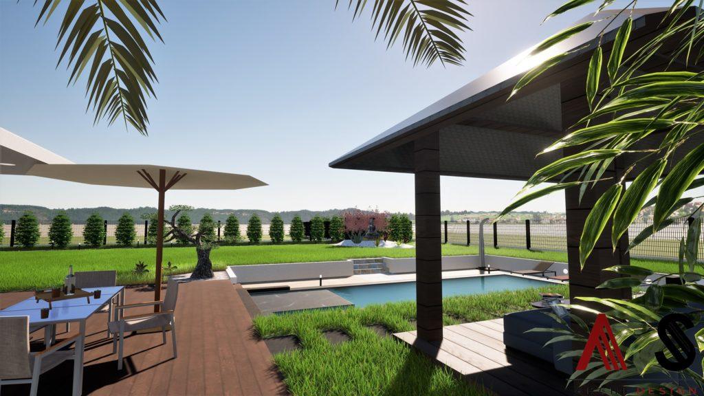 aménagement extérieur avec pas japonais vers l'abri de piscine ouvert